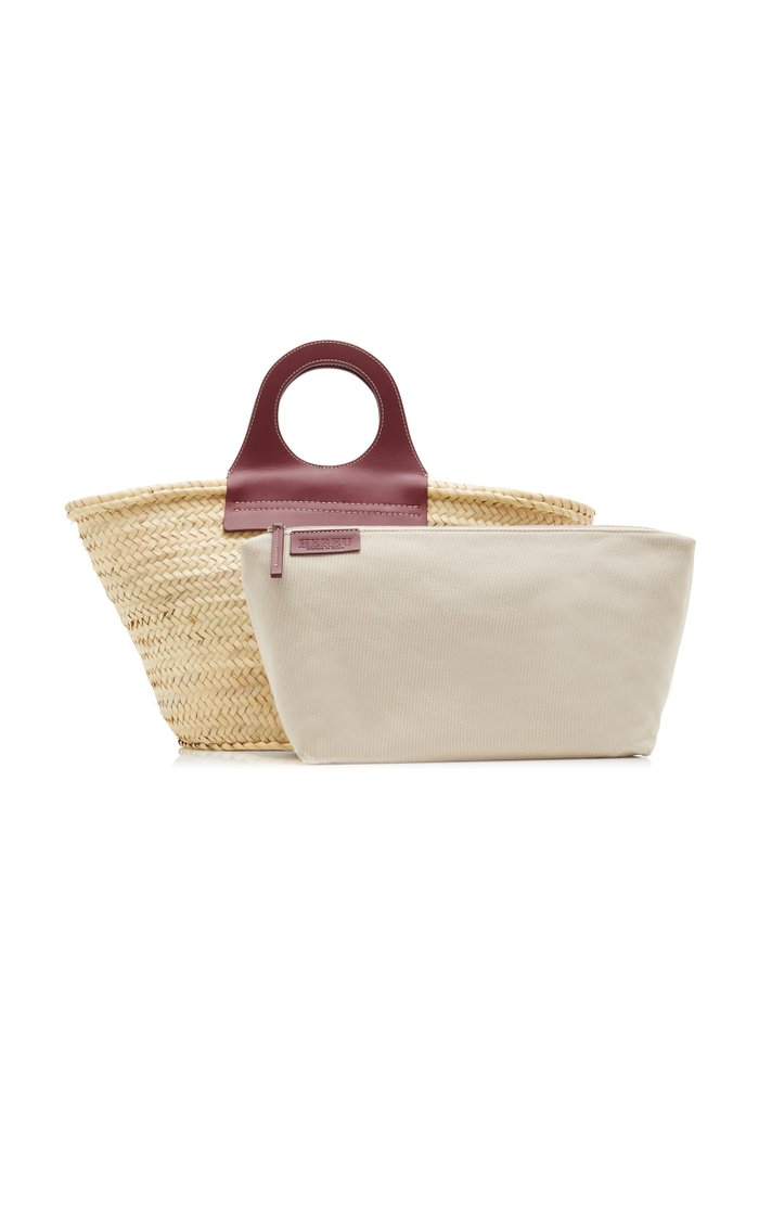 Cabas Medium Leather-Trimmed Straw Tote