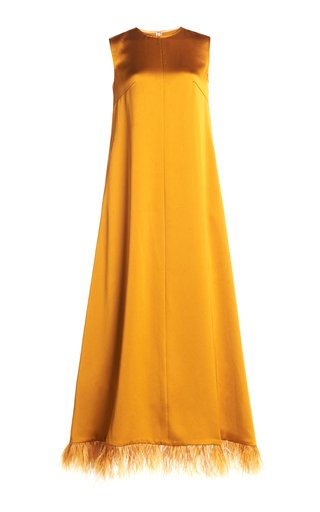 Lavinia Feathered Satin Dress