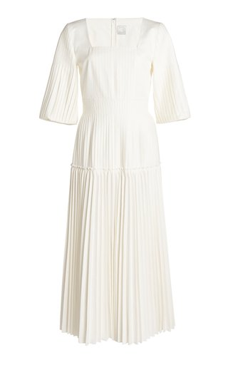 Calliope Pleated Cotton-Blend Dress