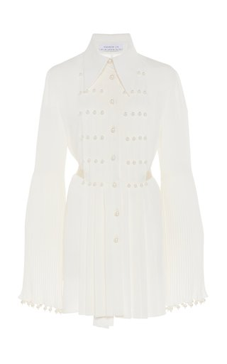Pearl-Embellished Pleated Silk Top