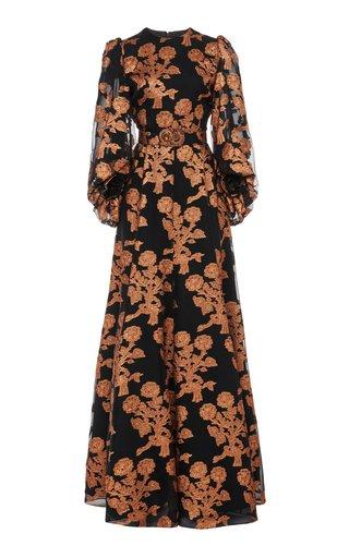 Floral Fil Coupé Silk Organza Gown
