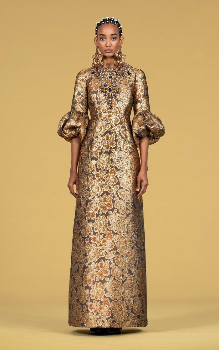 Crystal-Embellished Floral Brocade Gown
