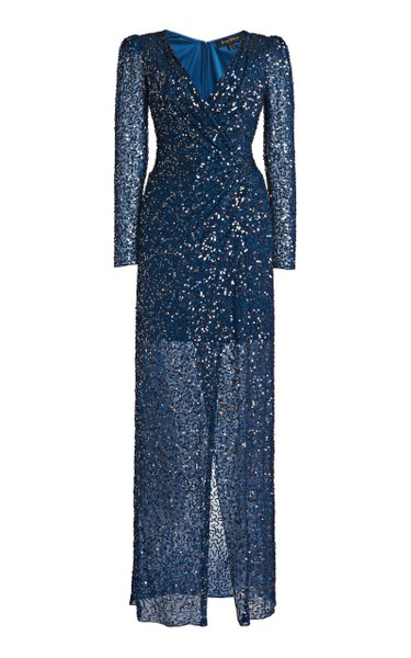 Wrap-Effect Sequined Dress