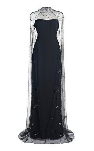 Jenny Packham Embellished-cape Pearle Gown In Black