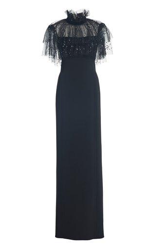 Ruffle-Embellished Crepe Dress