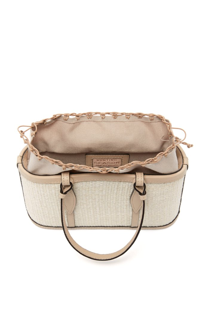 Small Leather-Trimmed Raffia Basket Tote