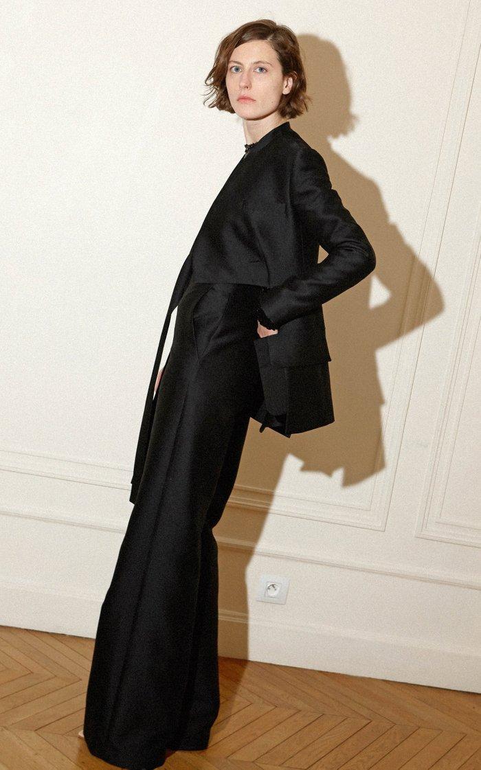Cutout Wool-Silk Wrap Jacket