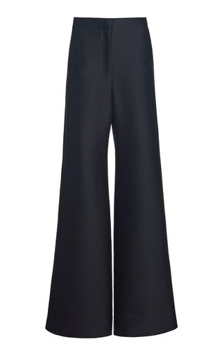 Wool-Silk Wide-Leg Trousers
