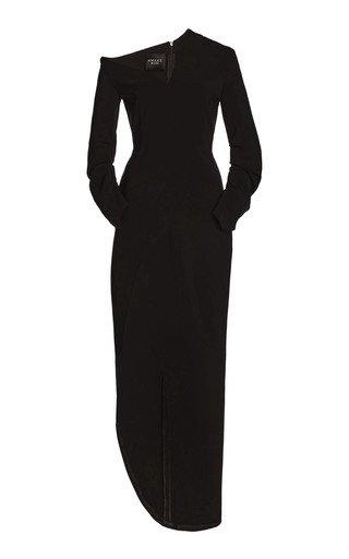 Asymmetric Draped Crepe Maxi Dress