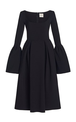 Bell-Sleeve Bonded Crepe Midi Dress
