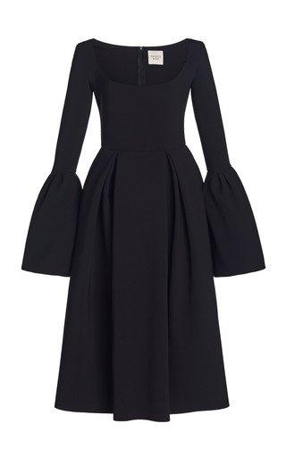 Bell-Sleeve Bonded Crepe Midi Dress