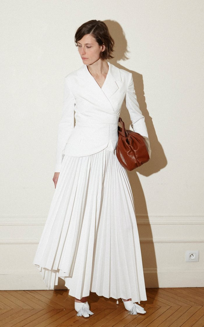 Peplum-Detailed Pleated Cotton Twill Maxi Skirt