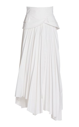 Peplum-Detailed Pleated Cotton Twill Maxi Skirt