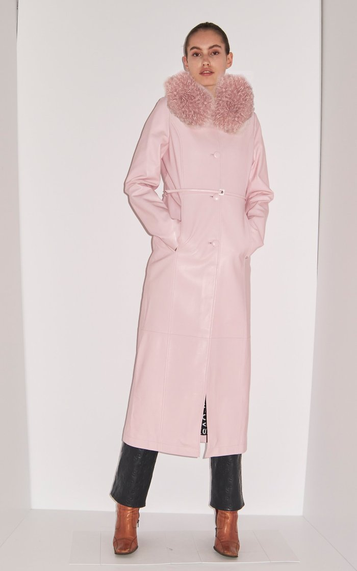 Charlot Fur-Trimmed Leather Coat