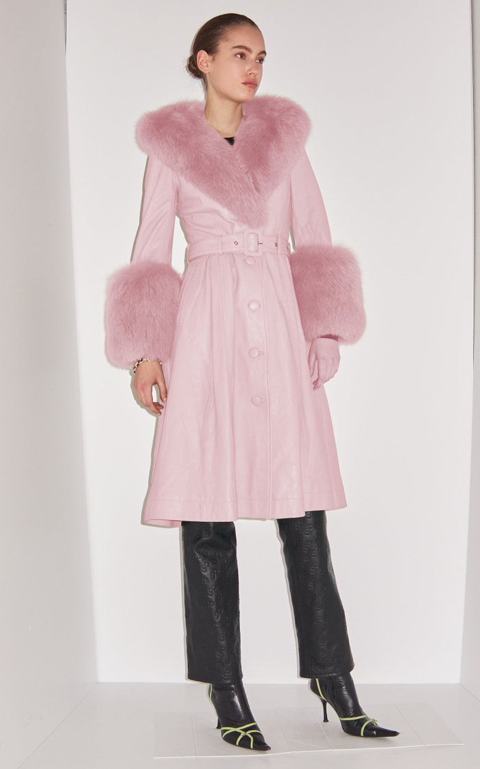 Foxy Fur-Trimmed Belted Leather Coat
