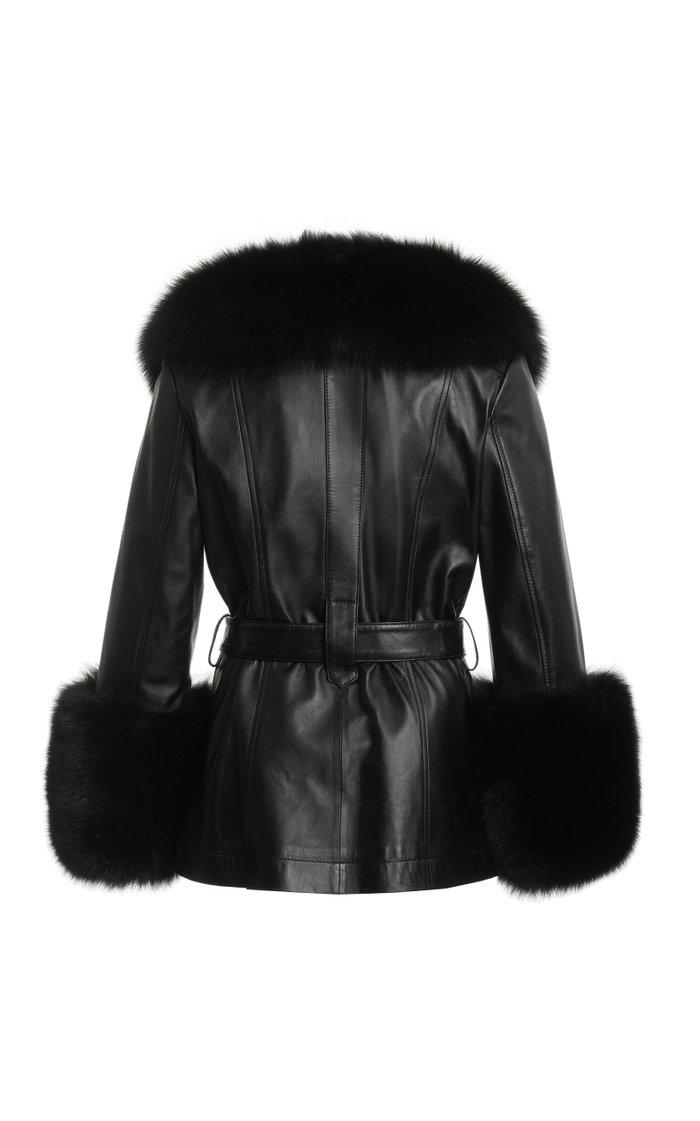 Shorty Fur-Trimmed Belted Leather Jacket