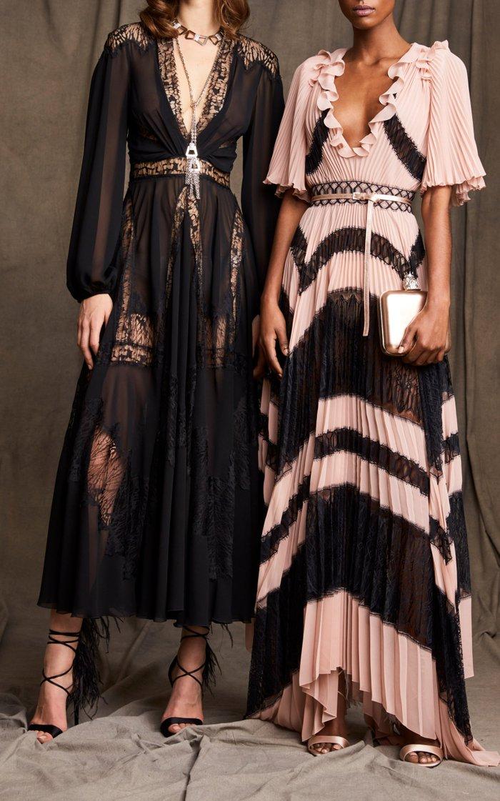 Lace-Detailed Chiffon Dress