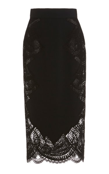 Lace-Detailed Crepe Pencil Skirt