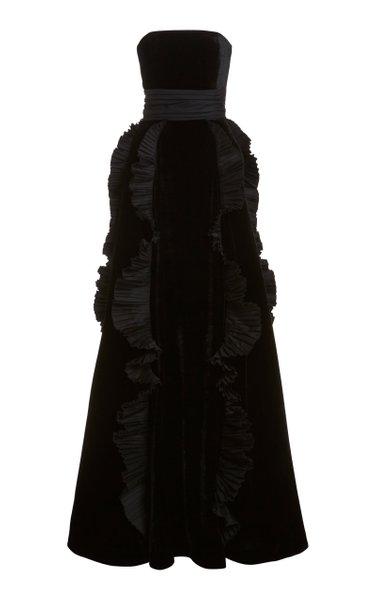 Strapless Ruffle-Trimmed Velvet Gown