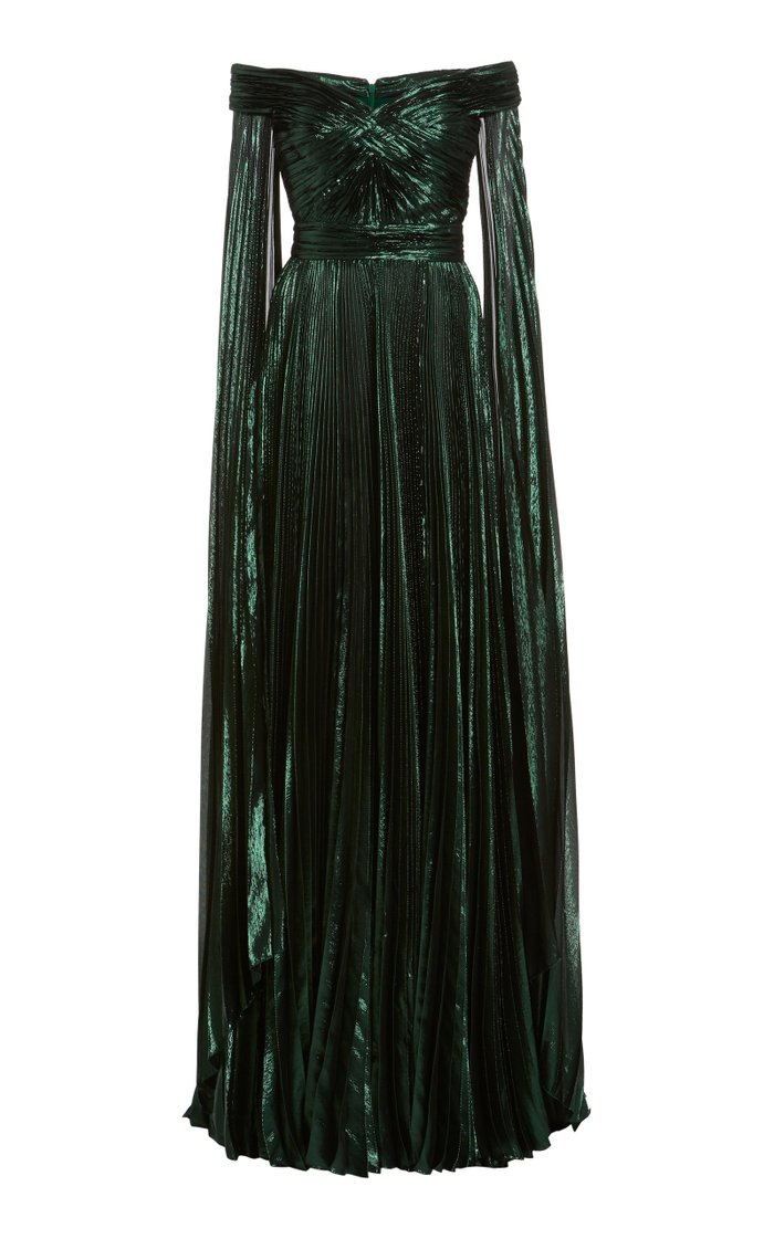 Off-The-Shoulder Metallic Silk-Blend Plissé Gown