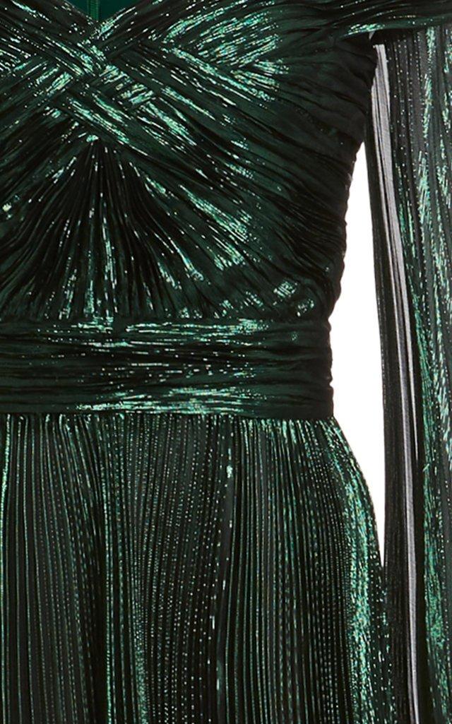 Off-The-Shoulder Metallic Silk-Blend Plissé Gown