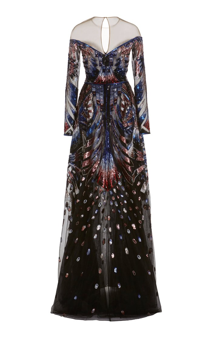 Embroidered Chiffon Gown