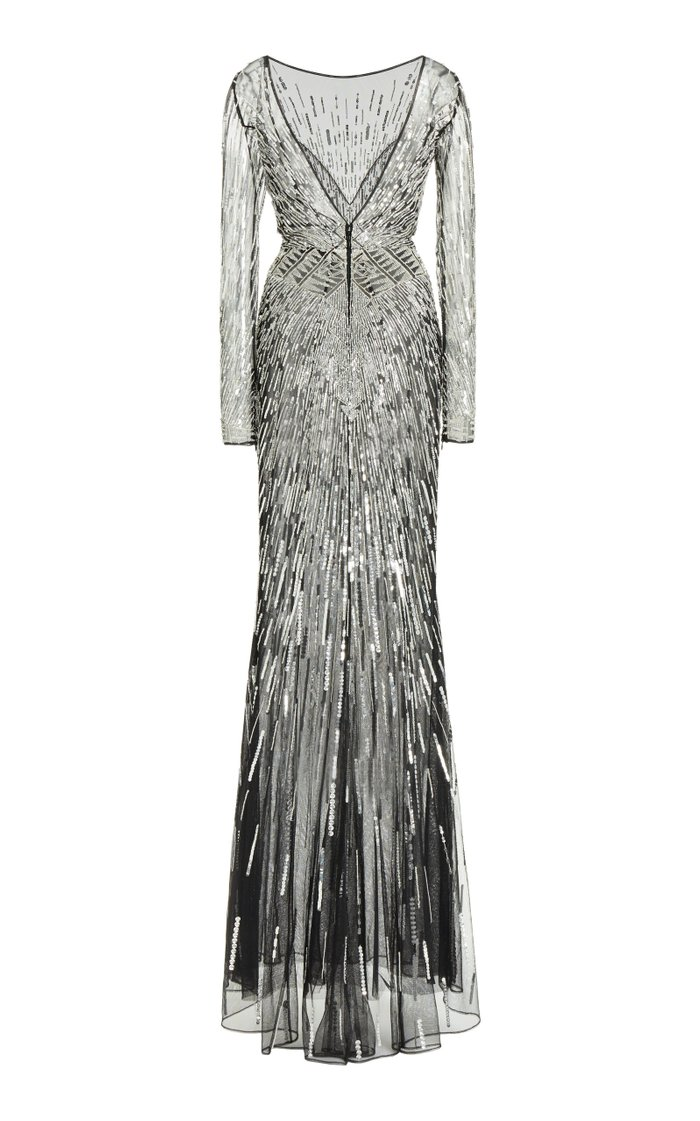 Starlight Sequined Chiffon Gown