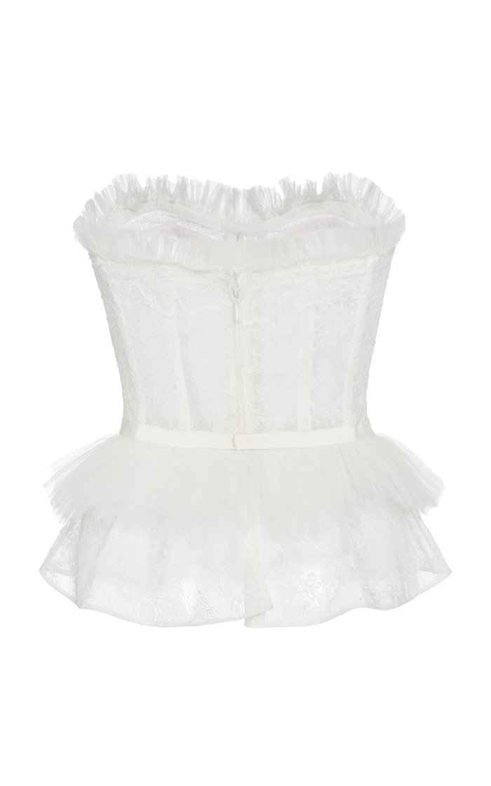 Woolf Ruffled Lace Bustier Top