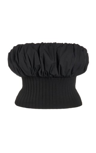 Jersey-Paneled Cotton-Poplin Top