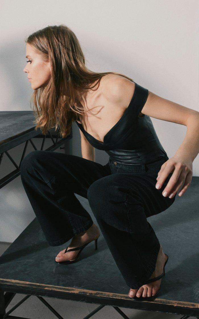 Off-The-Shoulder Leather Bodysuit