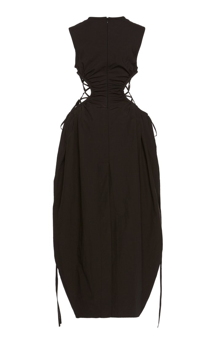 Ruched Tie-Detail Cotton-Nylon Cocoon Dress