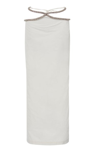 Contoured Crystal-Embellished Nylon Skirt