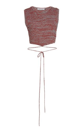 Tie-Detailed Cropped Ribbed-Knit Top