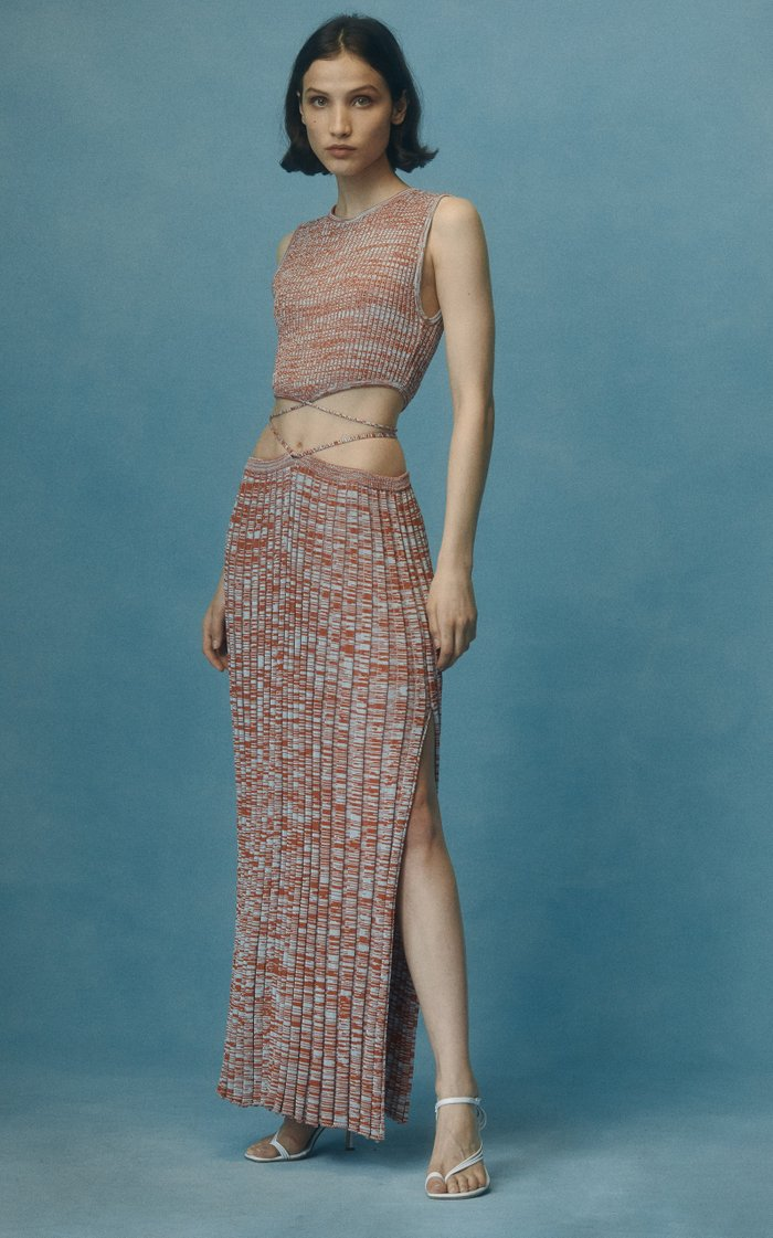 Tie-Detailed Ribbed-Knit Maxi Skirt