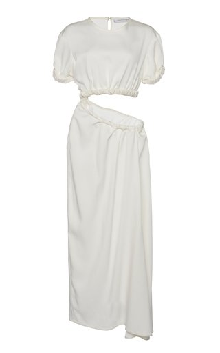Draped Cut-Out Stretch-Jersey Maxi Dress