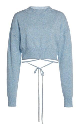 Oversized Tie-Detailed Wool-Blend Sweater