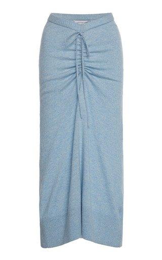 Ruched Wool-Blend Midi Skirt
