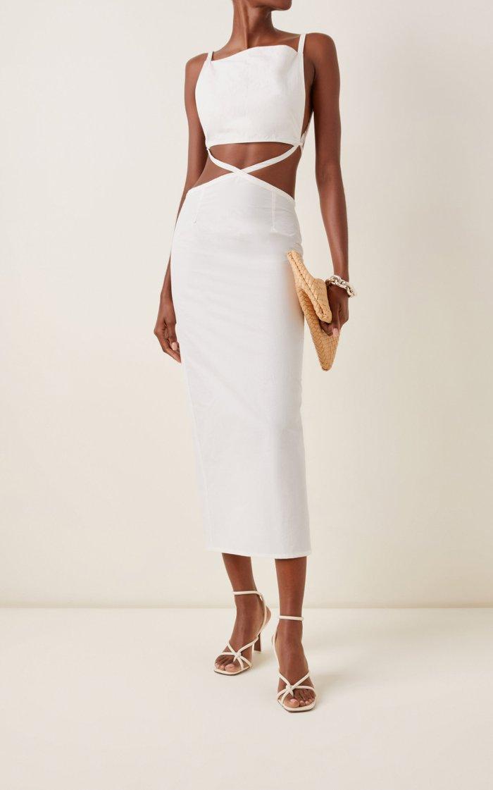 Carly Cutout Nylon-Cotton Midi Dress