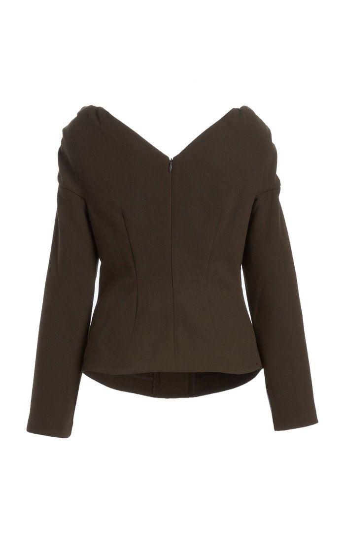 Miriam Button-Detailed Off-The-Shoulder Wool Top