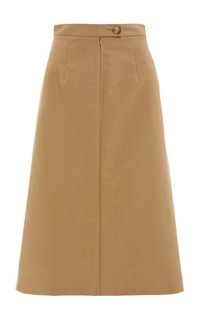 Hazel Pleated Cotton Midi Skirt