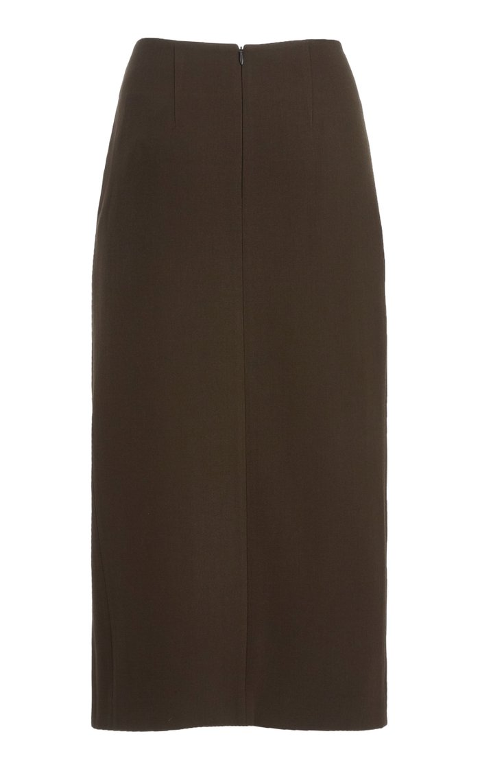 Iris Draped Wool Midi Skirt