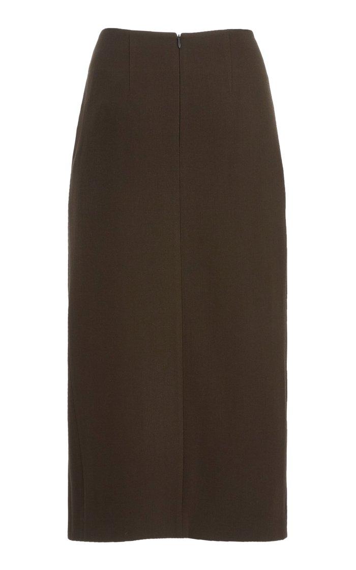 Iris Draped Wool Midi Skirt