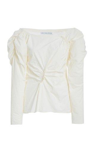 Cassie Asymmetric Ruched Cotton Top