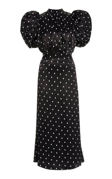 Dawn Polka-Dot Satin Puff-Sleeve Midi Dress