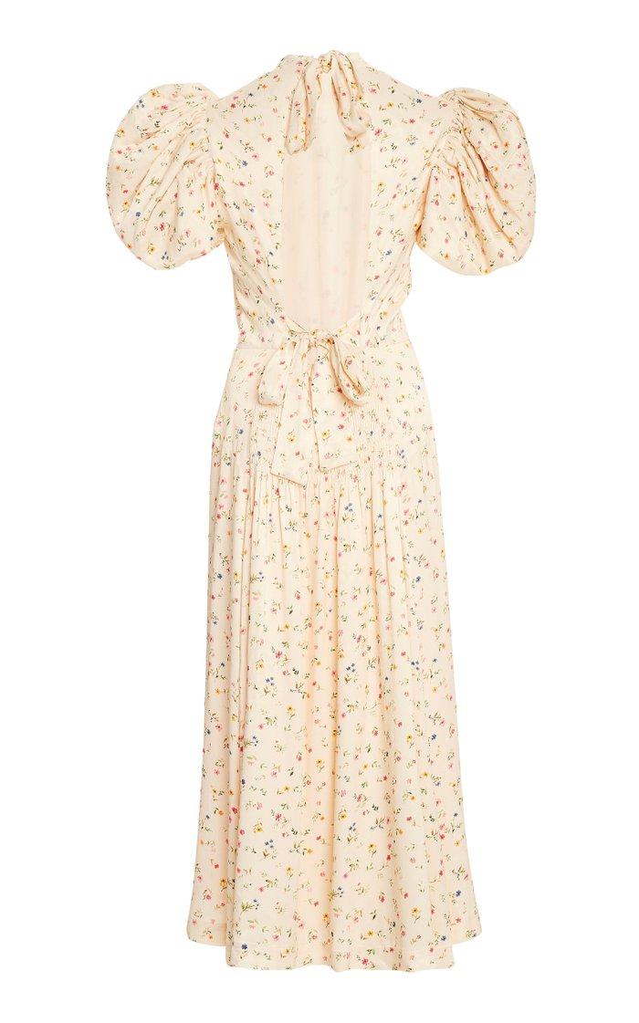 Dawn Floral Puff-Sleeve Midi Dress