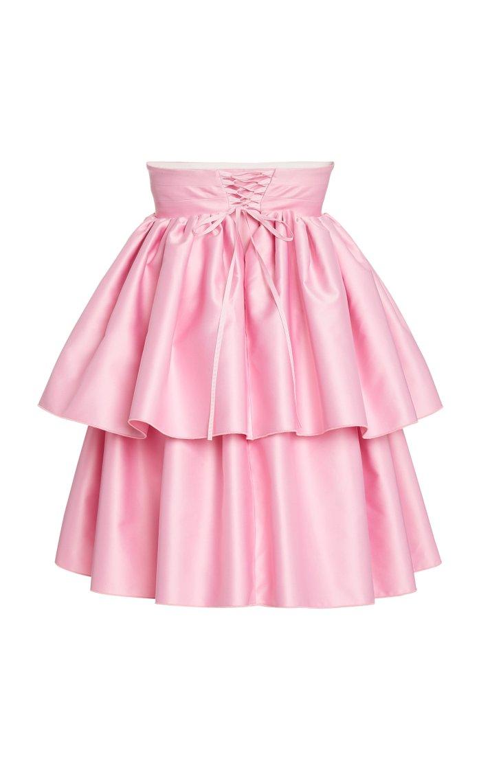 Carmina Tiered Satin Strapless Mini Dress