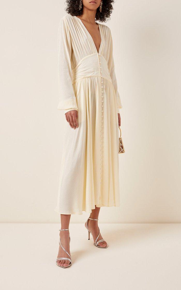Tracy Button-Front Crepe Midi Dress