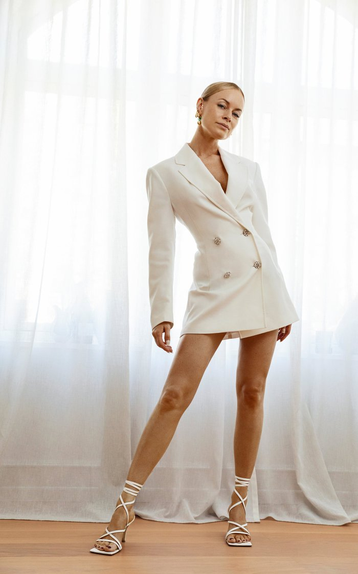 Fonda Crystal-Embellished Cady Double-Breasted Blazer