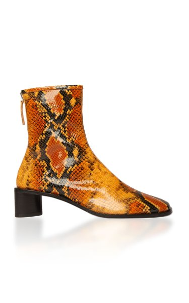 Bertine Logo Snake-Effect Leather Boots