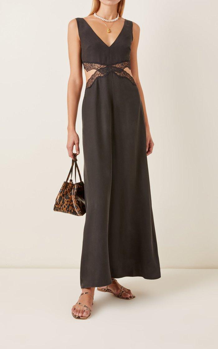 Alma Cutout Lace-Trimmed Silk Maxi Dress